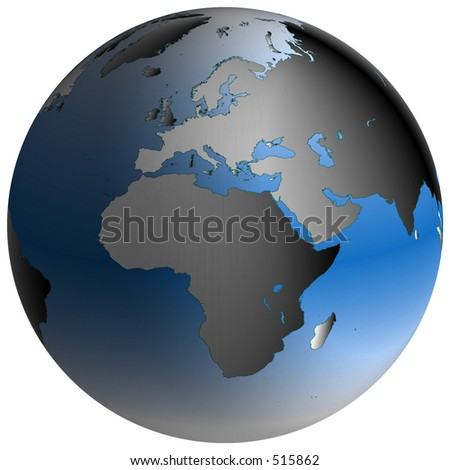 Spherical World Map.Highlydetailed World Map Spherical Coordinates Europe Africa Stock