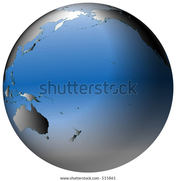 Highlydetailed World Map Spherical Coordinates Pacific Stock ...