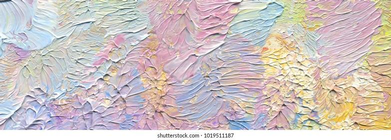 Fundo de pintura abstrata colorida altamente texturizada. Pincelada. Textura natural da tinta a óleo. Detalhes de alta qualidade. Pode ser usado para web design, impressão artística, fontes texturizadas, figuras, formas, etc.