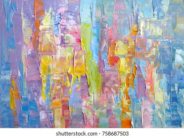 Highly-Textured Colorful Abstract Painting Background. Oil Paint. Texture Palette Knife. High Detail. Can be used  for web design, art print, textured fonts, figures, shapes, etc.