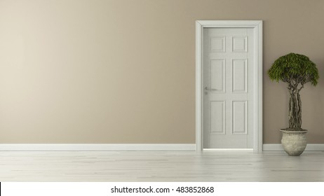 high-resolution closed door with wall concept 3D rendering background for your project by Sedat SEVEN