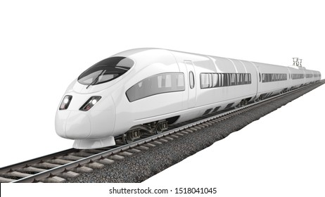 High-Speed Train 3D Rendering Isolated on White Background