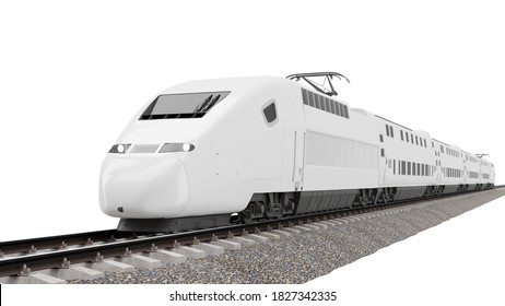 High-speed train 3D rendering isolated on white background.