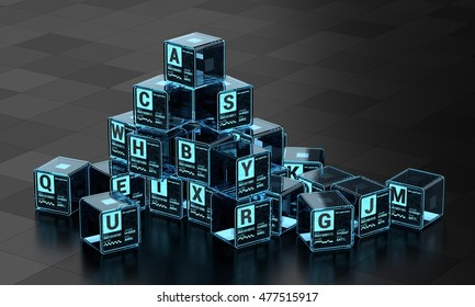 High-Tech Blue Glowing Alphabet Cubes Set Marked With ASCII, Unicode, RS-232, and HTML Character Encoding 3d