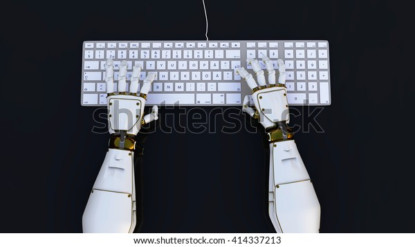 high-tech robot hands typing on a computer, or hack into the system. 3d render.