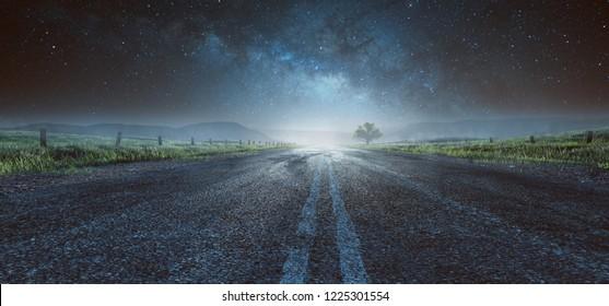 Highway at night (3D Rendering)