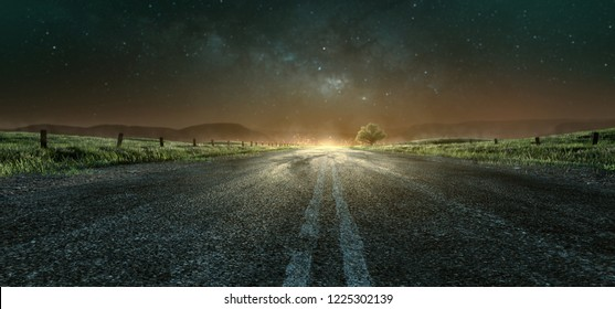 Highway at night towards the city (3D Rendering)