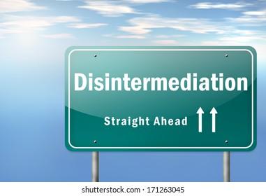 Highway Signpost with Disintermediation wording