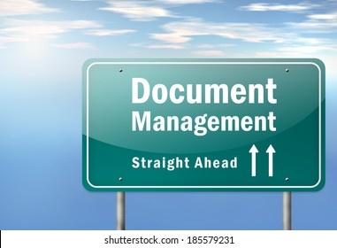 Highway Signpost with Document Management wording