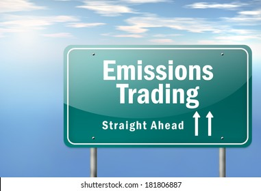 Highway Signpost with Emissions Trading wording