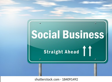 Highway Signpost with Social Business wording