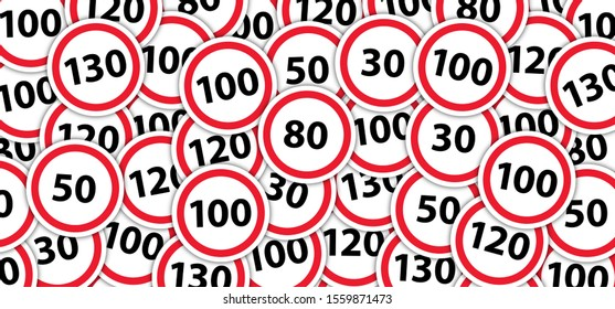Highway traffic maximum speed limited zone to 100 km hour 100 kmh traffic signal The Netherlands Holland Dutch Prohibitive Kilometre Kilometer Warning Road Background sign icon icons Caution No Ban