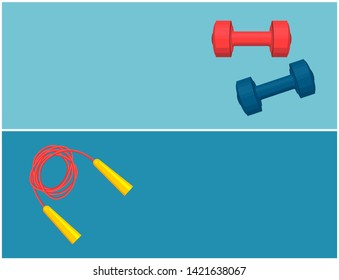 Hiit skipping rope and dumbbells pair color card blue red barbells twisted jumping with yellow handles text sample illustration