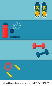Hiit sport equipment set colorful raster banner illustration with sneakers jumping rope and dumbbells bottle mp3 player device for pulse check