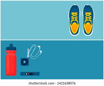 Hiit sportswear sport shoes and helpful gadgets blue sneakers red bottle portable music player pulse sensor illustration