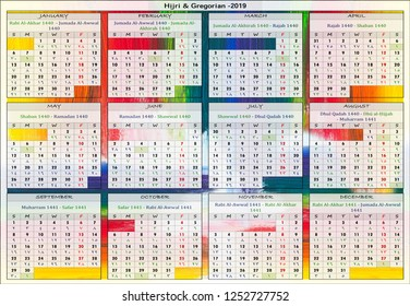Hijri and Gregorian Calendar for the year of 2019