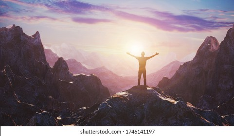Hiker with arms up outstretched on mountain top looking at inspirational landscape. Inspiration and travel concept. 3d rendering
