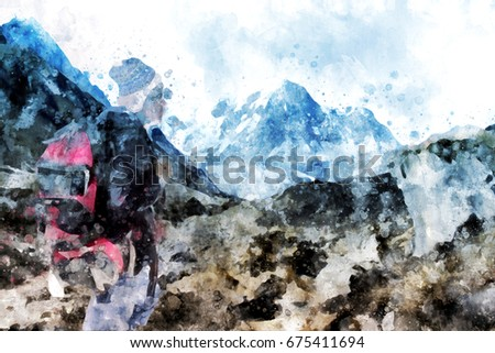 Royalty Free Stock Illustration of Hiker Backpack Looking Mountain ... 174fbc01e9ca1
