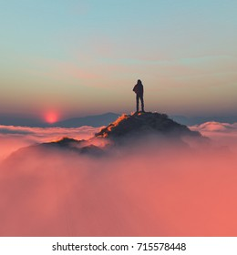 Hiker on the mountain over the clouds. This is a 3d render illustration