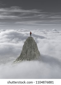 Hiker on top of a mountain over  a cloud. This is a 3d render illustration