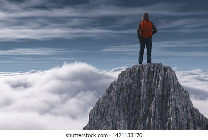 Hiker on top of mountain peak above clouds. This is a 3d render illustration