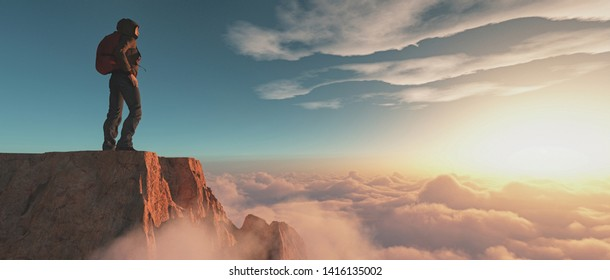 Hiker standing on a mountain cliff above clouds at sunset. This is a 3d render illustration