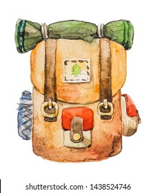 Hiking backpack for hiking travel. Drawing watercolor on white background. Isolated object