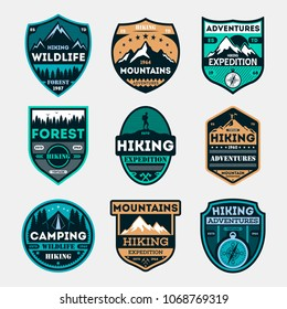 Hiking expedition vintage isolated label set. Outdoor adventure symbol, mountain and forest explorer, touristic extreme trip badge, nature trekking logo. People travel activity illustration