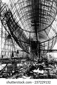 Hindenburg Airship under construction The almost complete steel frame at the Zeppelin works at Friedrichshafen Germany.