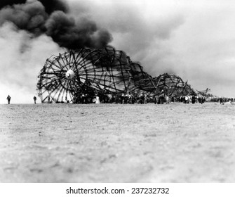 Hindenburg crash at Lake Hurst New Jersey The skeleton of the still burning Zeppelin on the ground after bursting in flames while landing.