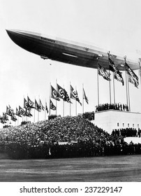 The Hindenburg flying low in salute of the Nazi hosts of the Nuremberg Congress Shortly afterward it departed for the United States.