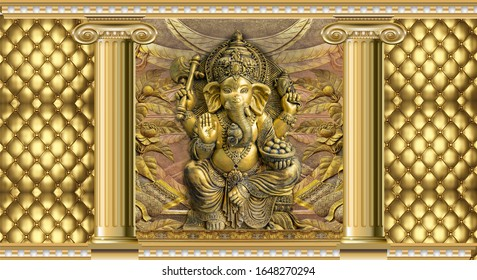 Hindu God Ganesha With Beautiful Gold Pattern 3d Illustration Wallpaper Design