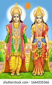 Hindu God Narayan And Laxmiji Beautiful Wallpaper Design.