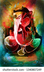 Hindu Lord Ganesha abstract texture background canvas oil painting. Modern Art. Multicolored bright texture. Abstract artwork  - Illustration