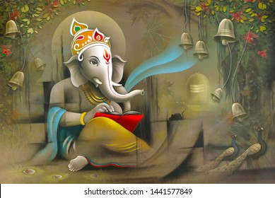 Hindu Lord Ganesha texture wallpaper  background