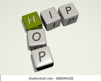 HIP HOP crossword by cubic dice letters, 3D illustration