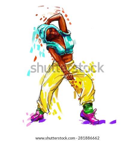 Hip Hop Dancer Digital Painting Hip Ilustración de stock281886662 ...
