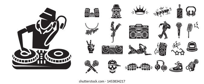 Hiphop icons set. Simple set of hiphop icons for web design on white background