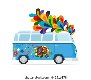 Hippie bus. peace van colored icon on white background