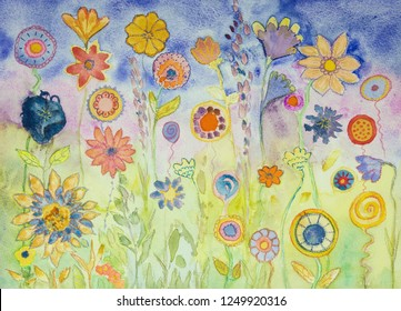 Hippie lollypops and flowers. The dabbing technique near the edges gives a soft focus effect due to the altered surface roughness of the paper.