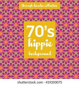 Hippie, retro, background pattern of 70's.