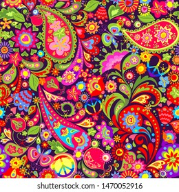Hippie vivid colorful wallpaper with abstract flowers, hippie peace symbol, butterfly, pomegranate and paisley