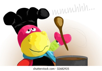 Hippo cartoon character cooking in a chef hat