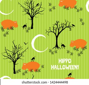 Hippo Halloween! Orange goofy hippos with spooky black cats on a stripy green background with haunted trees and a white crescent moon in a seamless repeating pattern.