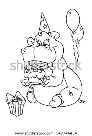 Hippo Holiday Birthday Coloring Pages Cartoon Stock Illustration