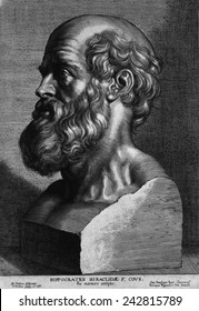 Hippocrates (460-375 BC). Engraving after an ancient sculpture. By P. Pontius, 17th century French school.