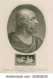 Hippocrates (460-375 BC). Engraving from a ancient gemstone. Ca. 1800 by J. Chapman.