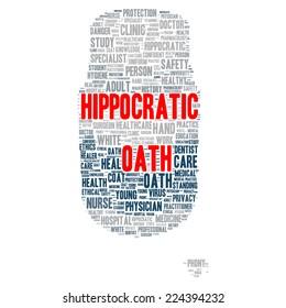 Hippocratic oath word cloud shape concept