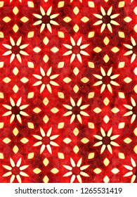 Hippy red floral geometric