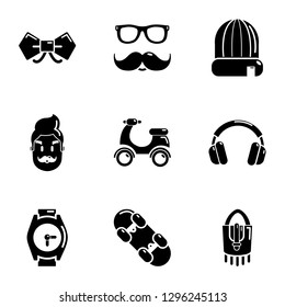 Hipster aspect icons set. Simple set of 9 hipster aspect icons for web isolated on white background